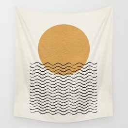Ocean wave gold sunrise - mid century style Wall Tapestry