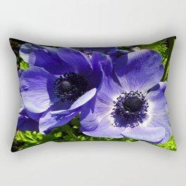 Two Blue Mauve Anemone - Close Up Windflowers  Rectangular Pillow