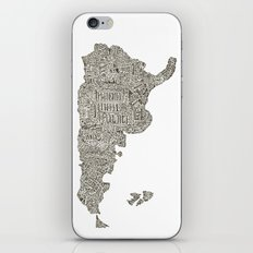 Lettering map of Argentina iPhone Skin