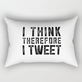 I Think therefore I tweet (on white) Rectangular Pillow