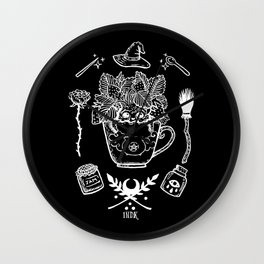 witchy strawberry mandrake black Wall Clock
