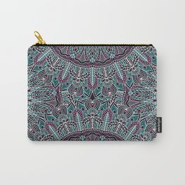 Mandala white pink and cyan lace Carry-All Pouch