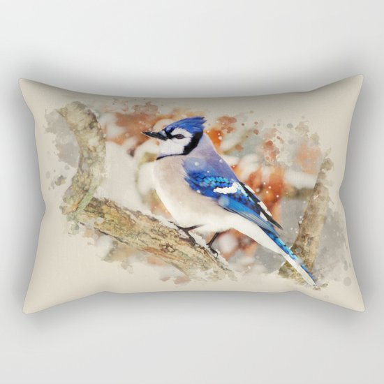 Watercolor Blue Jay Art Rectangular Pillow