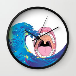 Hokusai Rainbow & Mouth  Wall Clock