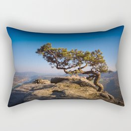 Crooked Tree in Elbe Sandstone Mountains Rectangular Pillow