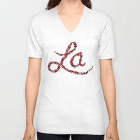 la V-neck T-shirts featuring LA by Chris Piascik