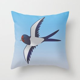 Cute barn swallow Throw Pillow