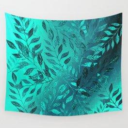 Monochrome Leaf Arrangement (Teal) Wall Tapestry