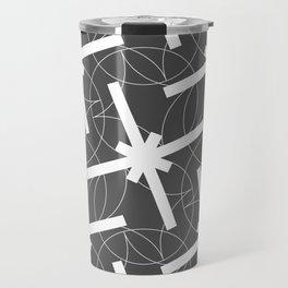 Seamless Geometric White Abstract Pattern on Black Background Travel Mug