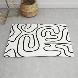 Doodle Line Art Black Lines on White Background Rug