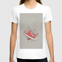 sneakers T-shirts featuring red sneakers by ivaDima