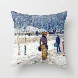 Frederick Childe Hassam - New York Street - Digital Remastered Edition Throw Pillow