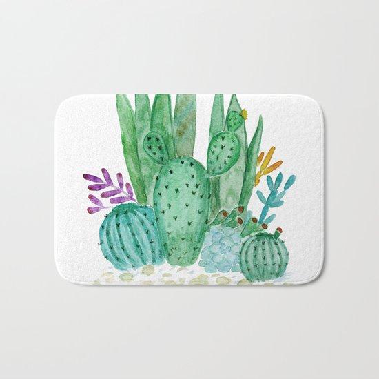 Cacti and succulents . Watercolor . Bath Mat