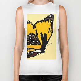 Yellow Butterfly Biker Tank