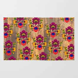 Purple folk flowers pattern Rug