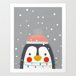 Christmas Penguin Art Print