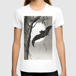 Bat flying under the full Moon - Japanese vintage woodblock print art T-shirt