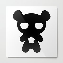 Cute Lazy Bear Black and White Metal Print