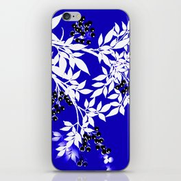 LEAF AND TREE BRANCHES BLUE AD WHITE BLACK BERRIES iPhone Skin