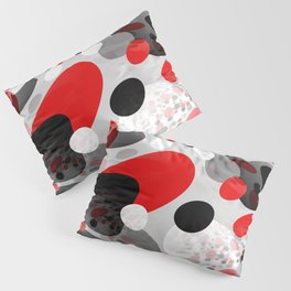 Stir Crazy - Abstract - Red, Black, Gray, White Pillow Sham