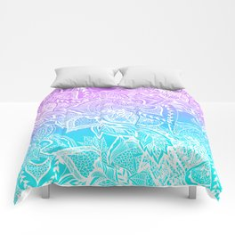 Modern purple turquoise mermaid watercolor floral white boho hand drawn pattern Comforters