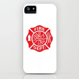 Fire Department Emblem St Florian Maltese Cross Red with White Outline iPhone Case