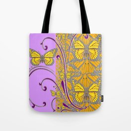 LILAC  PURPLE & MONARCH BUTTERFLIES GREY-GOLD FLORAL Tote Bag