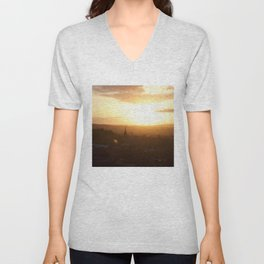 Salisbury Crags overlooking Edinburgh at sunset 3 Unisex V-Neck