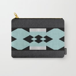 Sea Foam Silver Diamond on Black Background Carry-All Pouch