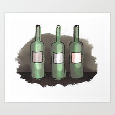 Three Bottles of Wine on the Wall Art Print