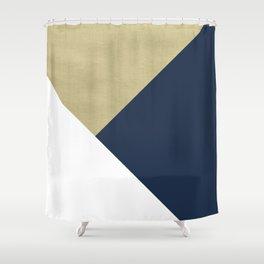 Gold meets Navy Blue & White Geometric #1 #minimal #decor #art #society6 Shower Curtain