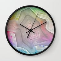 mineral Wall Clocks featuring MINERAL RAINBOW by Catspaws