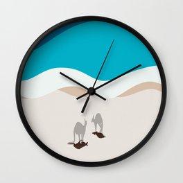 Kangaroos on the Beach in Australia | Aerial Illustration  Wall Clock