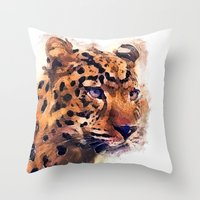leopard Throw Pillows featuring Leopard by jbjart