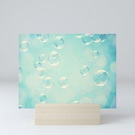 Bubble Photography, Laundry Room Soap Bubbles, Aqua Teal Bathroom Photography Mini Art Print