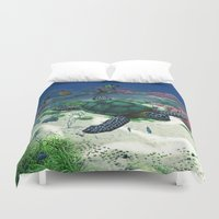 sea turtle Duvet Covers featuring Sea Turtle by Simone Gatterwe