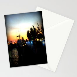 Night lights as Dusk settles over the Esplanade in Lakes Entrance - Australia Stationery Cards