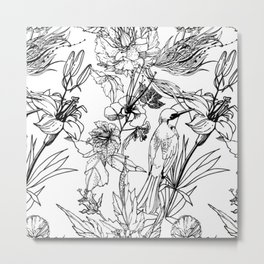 MONOCHROME HUMMING BIRD AND FLOWERS Metal Print