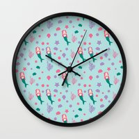 mermaids Wall Clocks featuring Mermaids by S. Vaeth