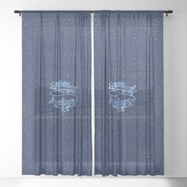 Pisces Constellation and Zodiac Sign with Stars Sheer Curtain