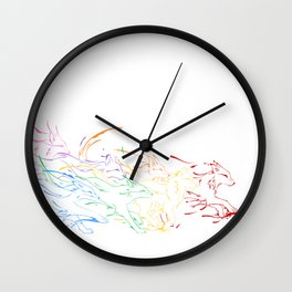 Painted Wolves Wall Clock
