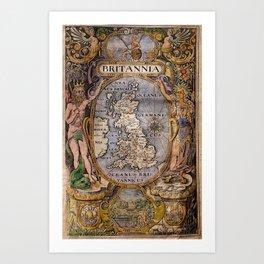 Map Of Britain 1607 Art Print