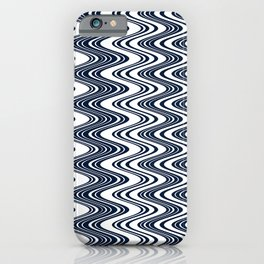 Classic blue waves, vertical wavy outline, abstract river flow iPhone Case