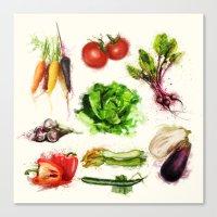 vegetables Canvas Prints featuring vegetables by Zazie-bulles