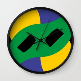 This is a very strange mask for a very strange yellow face. Or maybe it's a boomerang in a black sky Wall Clock