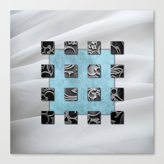 SQUARE AMBIENCE - white satin mixed-media collage Canvas Print