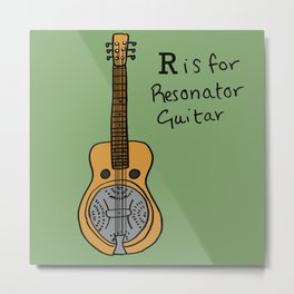 R is for Resonator Guitar Metal Print