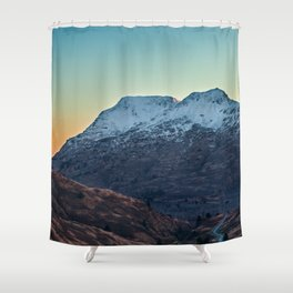 Sunset on a Snow Covered Mountain Photography Print Shower Curtain