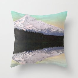 Mount Hood from Lost Lake - Circa 1900 Photochrom Throw Pillow