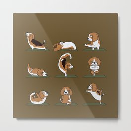 Beagle Yoga Metal Print